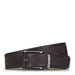 Мужской кожаный ремешок с текстурой в полоску, коричневый, 91-8M-314-4-90, Фотография 1
