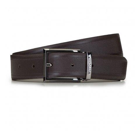 Мужской кожаный ремешок с текстурой в полоску, коричневый, 91-8M-314-4-13, Фотография 1