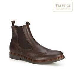 Мужские кожаные ботинки челси с перфорацией, коричневый, 89-M-352-4-41, Фотография 1