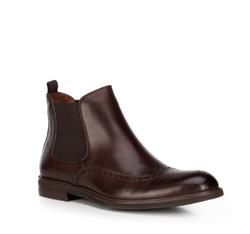 Мужские ботинки челси из перфорированной кожи, коричневый, 89-M-914-4-41, Фотография 1