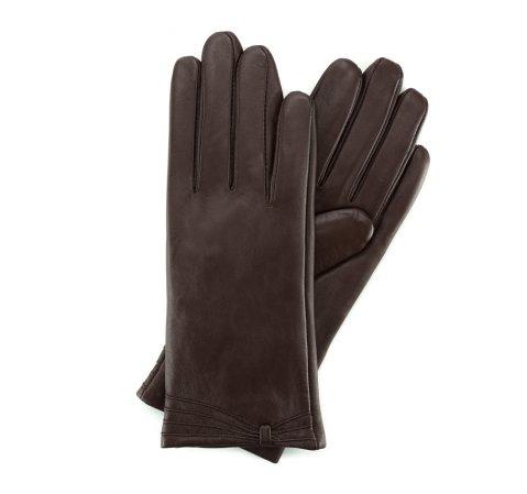 Женские кожаные перчатки с вышивкой, коричневый, 39-6L-224-1-M, Фотография 1