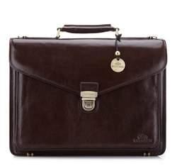Кожаный портфель с карманом, коричневый, 21-3-145-4, Фотография 1