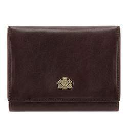 Женский кожаный кошелек с гербом на кнопке, коричневый, 10-1-070-4, Фотография 1