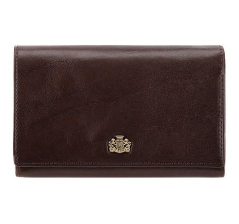 Женский средний  кожаный кошелек с гербом, коричневый, 10-1-081-3, Фотография 1