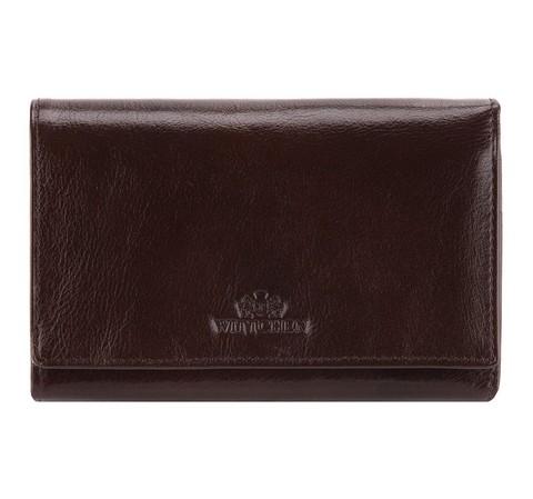Женский кожаный кошелек с карманом на защелке, коричневый, 21-1-081-1, Фотография 1