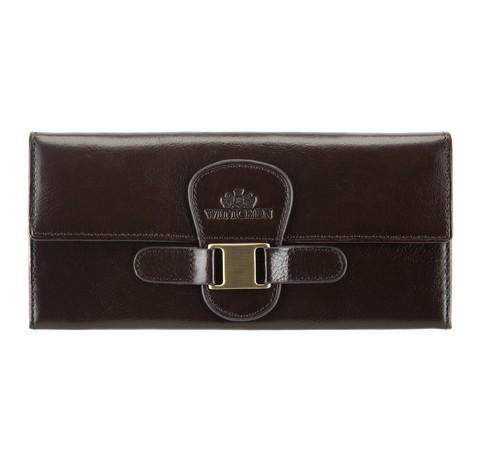 Женский кожаный кошелек с элегантной застежкой, коричневый, 21-1-336-3, Фотография 1