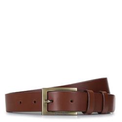 Ремень мужской кожаный узкий, коричневый, 92-8M-368-5-12, Фотография 1