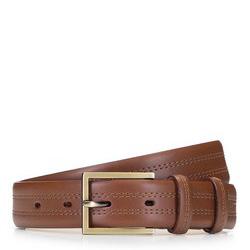 Ремень мужской кожаный с двойной прострочкой, коричневый, 92-8M-327-5-11, Фотография 1