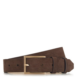 Мужской ремень из замши в полоску, коричневый, 91-8M-313-4-12, Фотография 1