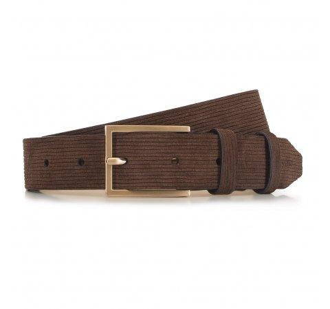 Мужской ремень из замши в полоску, коричневый, 91-8M-313-4-10, Фотография 1