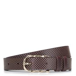 Женский кожаный ремень в горошек, коричневый, 92-8D-301-4-L, Фотография 1