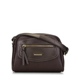 Сумка через плечо с декоративной вставкой, коричневый, 91-4Y-201-4, Фотография 1