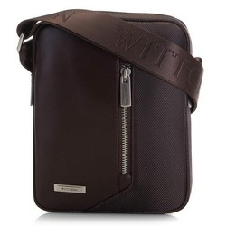 Мужская сумка через плечо из кожи и нейлона, коричневый, 91-4U-202-4, Фотография 1