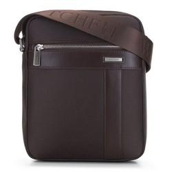 Мужская сумка через плечо из нейлона и кожи, коричневый, 91-4U-204-4, Фотография 1