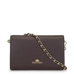 Женская кожаная сумка через плечо с золотыми деталями, коричневый, 91-4E-617-4, Фотография 1
