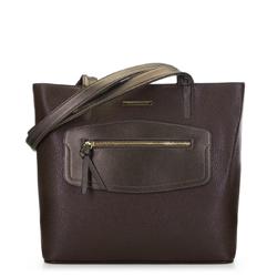 Сумка-шоппер с декоративной вставкой, коричневый, 91-4Y-200-4, Фотография 1