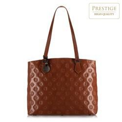 Кожаная сумка-шоппер с тиснением, коричневый, 33-4-101-5L, Фотография 1