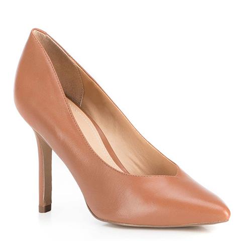 Туфли кожаные на шпильке с вырезом в сердце, коричневый, 89-D-753-5-41, Фотография 1