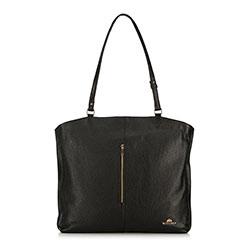 Кожаная сумка-шоппер с вертикальной застежкой-молнией, коричневый, 91-4E-315-1, Фотография 1
