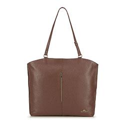 Кожаная сумка-шоппер с вертикальной застежкой-молнией, коричневый, 91-4E-315-5, Фотография 1