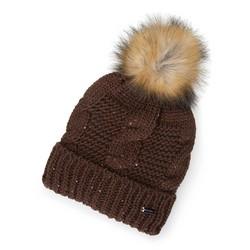 Женская шапка с металлической нитью и помпоном, коричневый, 91-HF-200-5, Фотография 1