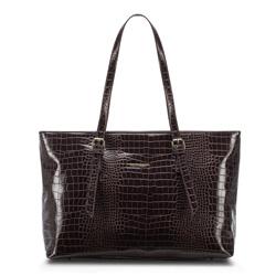Сумка-шоппер с крокодиловой текстурой, коричневый, 91-4Y-715-4, Фотография 1