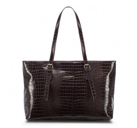 Сумка-шоппер с крокодиловой текстурой, коричневый, 91-4Y-715-1, Фотография 1