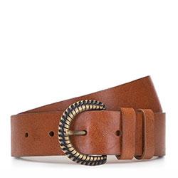 Женский кожаный ремень с плетеной металлической пряжкой, коричневый, 92-8D-309-5-XL, Фотография 1