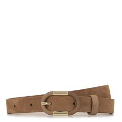 Женский кожаный ремень с овальной пряжкой, коричневый, 92-8D-305-5Z-L, Фотография 1