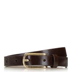 Женский кожаный ремень с золотой пряжкой, коричневый, 91-8D-307-4-XL, Фотография 1
