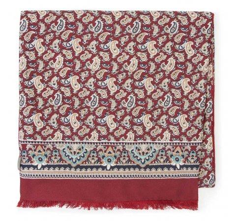 Мужской шелковый шарф с подкладкой, красно - бежевый, 91-7M-S44-X1, Фотография 1