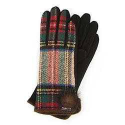 Женские клетчатые перчатки с поддержкой сенсорных экранов, красно - бежевый, 47-6-570-1-U, Фотография 1