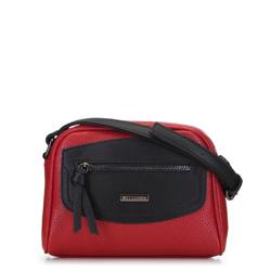 Сумка через плечо с декоративной вставкой, красно-черный, 91-4Y-201-3, Фотография 1