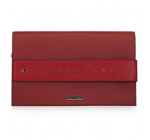 Большая сумка клатч с заклепками, красный, 91-4Y-712-1, Фотография 1