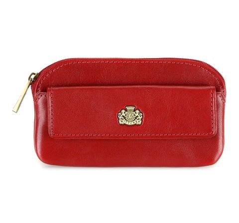 Кожаная ключница  с карманом, красный, 10-2-265-3, Фотография 1