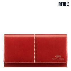 Женский кожаный кошелек RFID с декоративной строчкой, кармин, 14-1-122-L3, Фотография 1