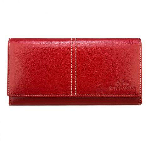 Женский кожаный кошелек RFID с декоративной строчкой, кармин, 14-1-122-L1, Фотография 1