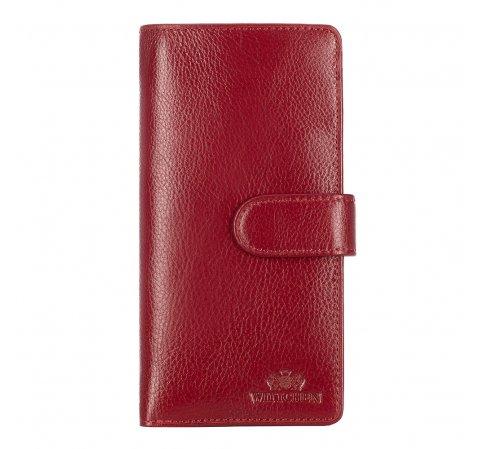 Женский кожаный средний кошелек на кнопке, красный, 21-1-028-10, Фотография 1