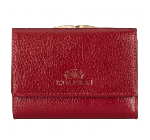 Женский кожаный маленький кошелек на защелке, красный, 21-1-053-10, Фотография 1