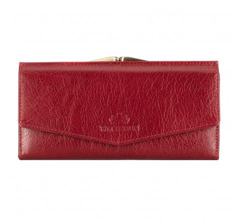 Женский кожаный кошелек с застежкой на защелке, красный, 21-1-079-30, Фотография 1