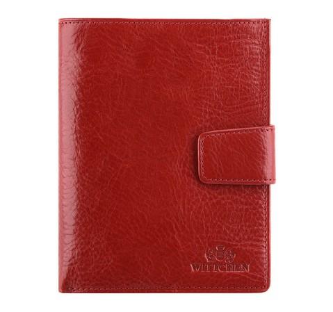 Женский кожаный кошелек с прозрачным карманом, красный, 21-1-339-1, Фотография 1