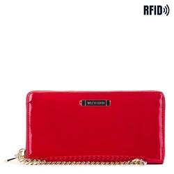 Женский кожаный лакированный кошелек на цепочке, красный, 26-1L-427-3, Фотография 1