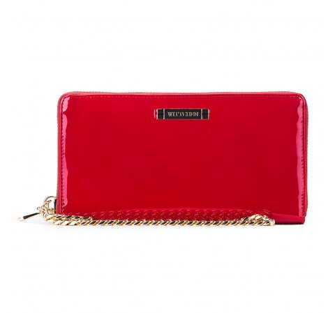 Женский кожаный лакированный кошелек на цепочке, красный, 26-1L-427-N, Фотография 1