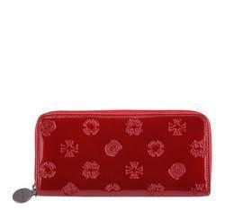 Женский лакированный кожаный кошелек с тиснением, красный, 34-1-393-3L, Фотография 1