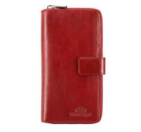 Женский кожаный кошелек на кнопке и на молнии, красный, 21-1-501-3, Фотография 1