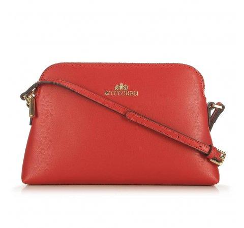 Женская сумка через плечо из кожи трапециевидной формы, красный, 29-4E-006-1, Фотография 1