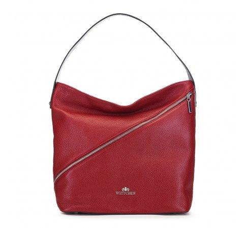 Кожаная сумка-хобо с застежками-молниями, красный, 91-4E-606-3, Фотография 1