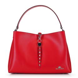 Кожаная сумка-шоппер с ремешком с заклепками, красный, 92-4E-607-30, Фотография 1