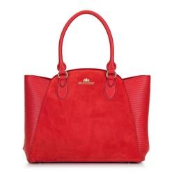 Кожаная сумка-тоут с замшевой вставкой, красный, 92-4E-618-3, Фотография 1