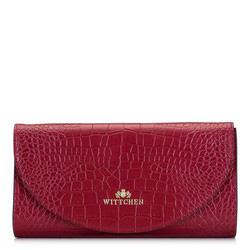 Минималистичный кожаный клатч с текстурой кожи крокодила, красный, 92-4E-659-3C, Фотография 1